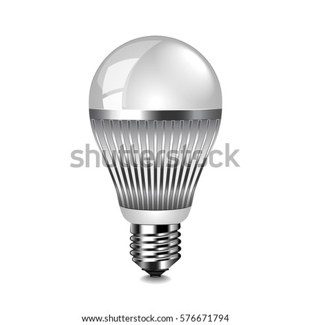 LED Light Bulb Isolated Photo Realistic Vector Illustration