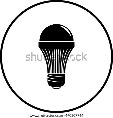 Led Light Bulb Symbol Stock Vector Royalty Free 490307764