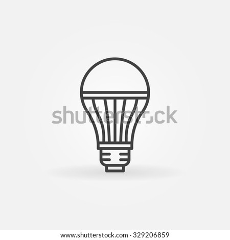 LED lightbulb icon - vector minimal thin line bulb sign - stock vector