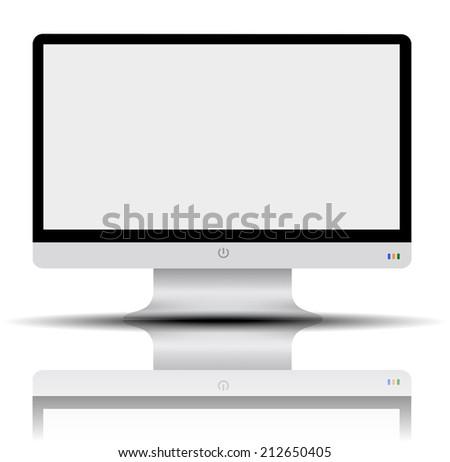 led monitor on white background from illustrator - stock vector
