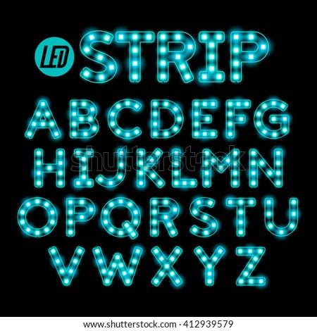 Led ribbon strip light alphabet vector illustration - stock vector
