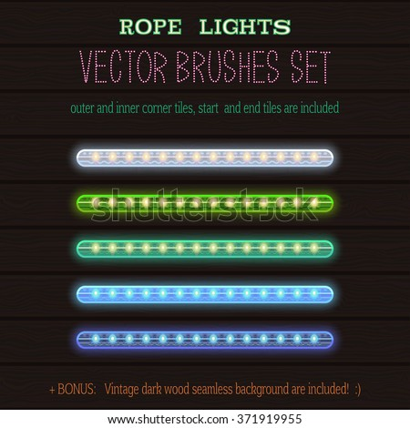 LED Rope Lights style vector pattern brushes set  with outer and inner corner tiles, end and start tiles, are located in the Brush panel of this EPS file. - stock vector