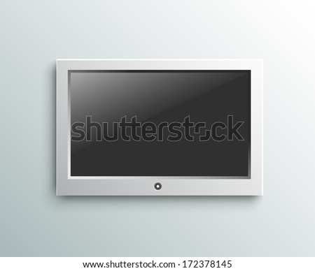 Led tv hanging monitor on the wall background - stock vector