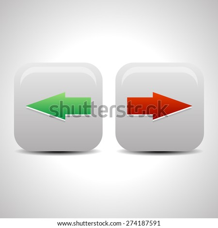 Left and right arrow buttons, arrow icons