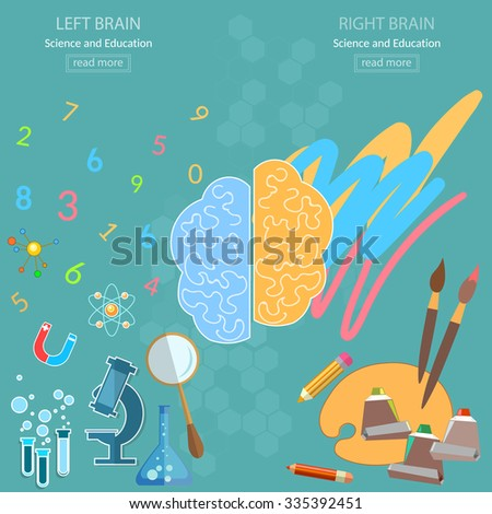 Left and right brain analytical and creativity education back to school sciences and arts vector concept - stock vector