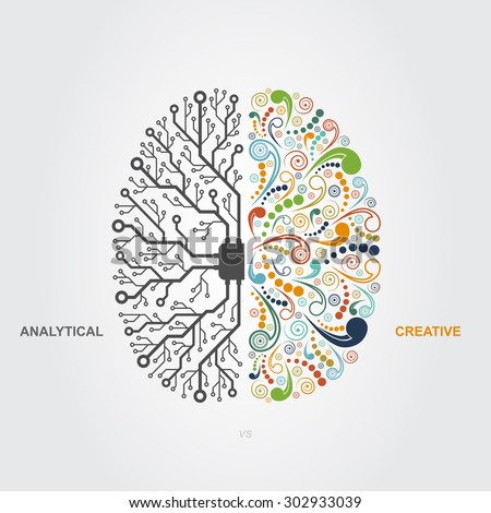 left and right brain functions concept, analytical vs creativity - stock vector
