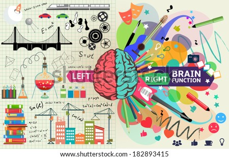 Left and right brain functions,  The left side is  an analytical, structured and logical mind, and the right side is a  creative mind. - stock vector