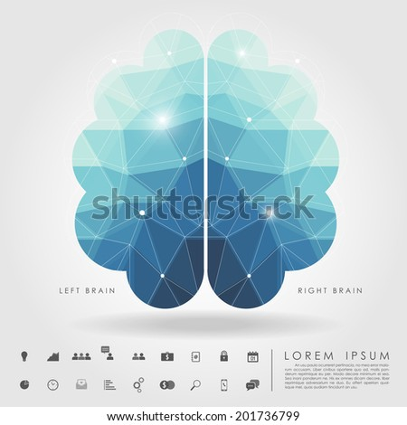 left and right brain polygon with business icon vector - stock vector