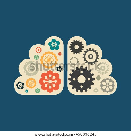 Left and right brain symbol with flowers and gears. Human mind psychology concept. Vector illustration. - stock vector
