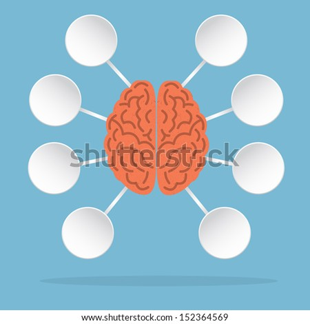 Left and Right Brain, vector illustration - stock vector