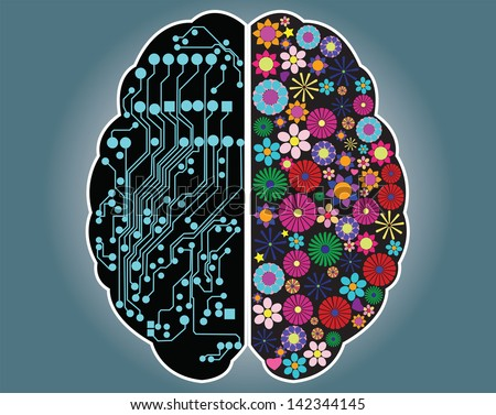 Left and right side of the brain, logic and creativity, vector - stock vector