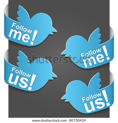 Left and right side signs - Follow me and Follow us. Vector illustration. - stock vector