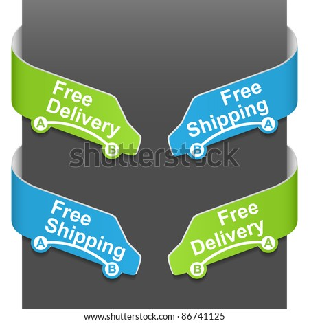 Left and right side signs - Free delivery and Free shipping. Vector illustration. - stock vector
