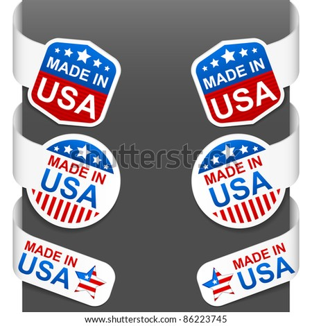 Left and right side signs - MADE IN USA. Vector illustration. - stock vector
