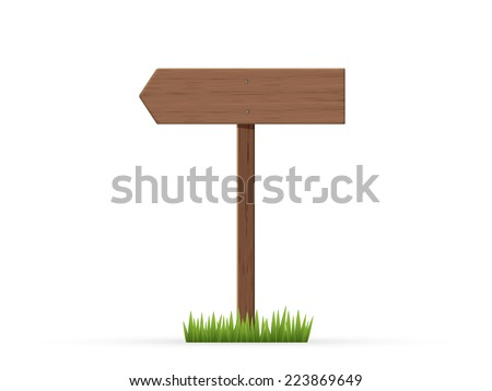 Left arrow road sign on grass - stock vector