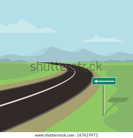 left curve road and left turn road sign, green landscape with mountains  - stock vector