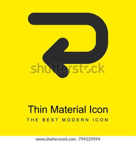 Left Curved Arrow Bright Yellow Material Minimal Icon Or Logo Design