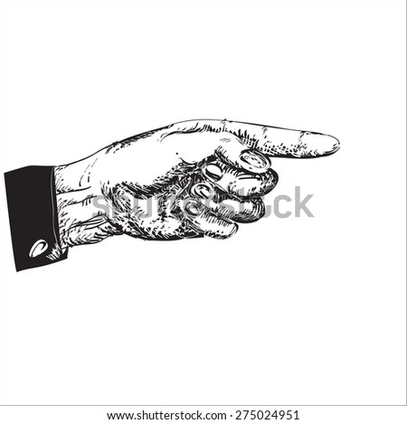 Left hand with pointing forefinger, illustration in black and white