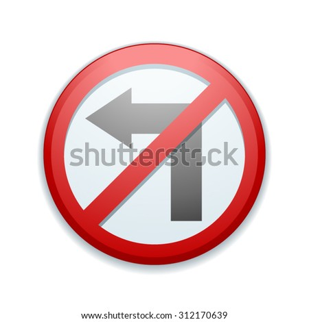 Left restricted sign - stock vector