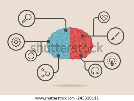 Left & right human brain illustration - stock vector