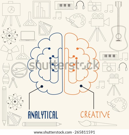 Left side and right side  brain concept in linear style - stock vector