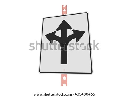 Left straight or right - 3d illustration of roadsign isolated on white background - stock vector