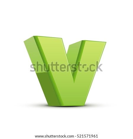 left tilt light green letter V, 3D illustration graphic isolated on white background