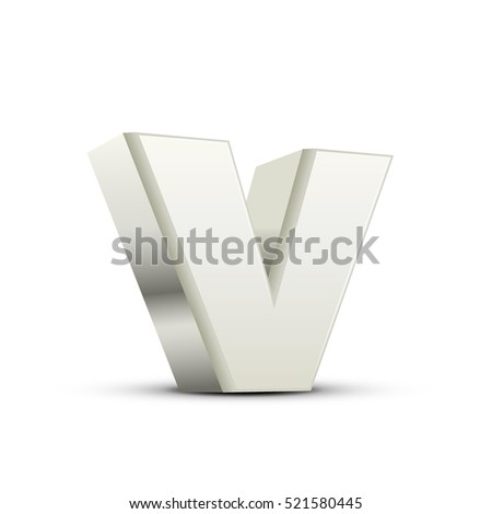 left tilt white letter V, 3D illustration graphic isolated on white background