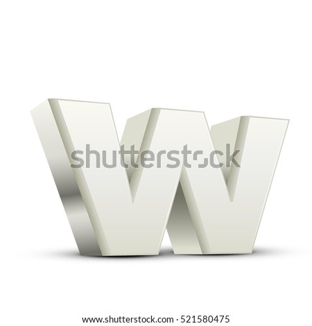 left tilt white letter W, 3D illustration graphic isolated on white background