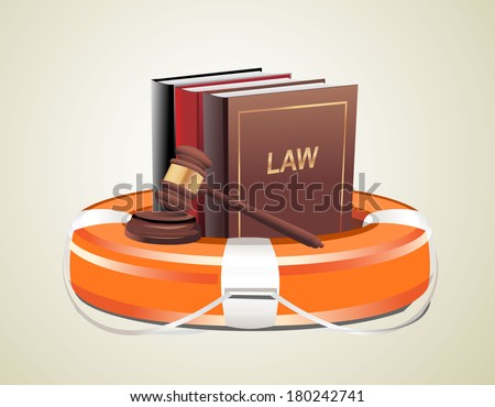 Legal aid. Gavel, book and lifebuoy  - stock vector