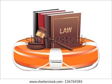 Legal aid. Gavel, book and lifebuoy on white background - stock vector