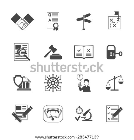 Legal compliance terms abidance work policy black icons set isolated vector illustration - stock vector