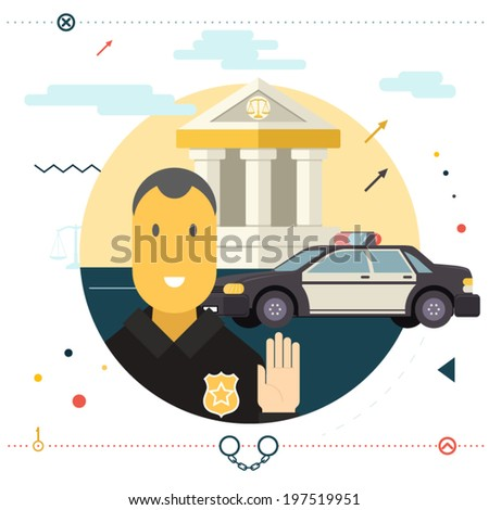 Legal Execution Justice law Police Symbol Policeman Stop Sign Front of Car With Court in Background Modern Flat Design Icon Template Vector Illustration - stock vector