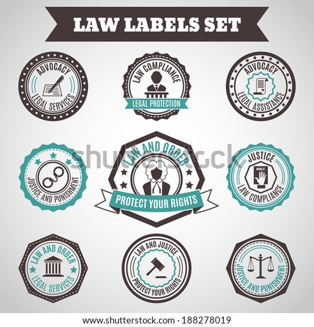Legal protection services layer crime and punishment labels set isolated vector illustration - stock vector