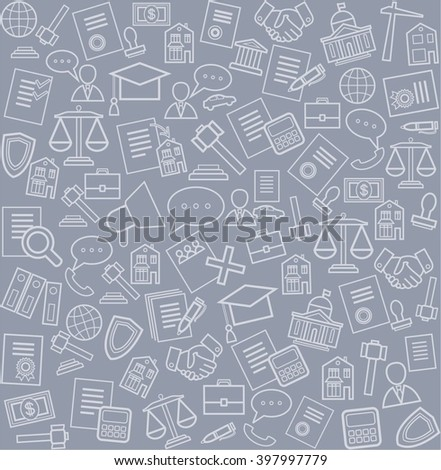 Legal services, background, seamless, gray. Gray line of legal services icons on the grey background. Vector seamless background.