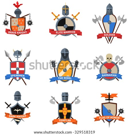Legendary knights warriors coats of arms emblems flat labels collection with heraldic shields abstract isolated vector illustration - stock vector
