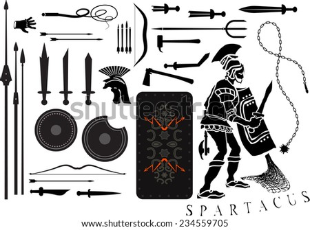 Legionary soldier ammunition in the set of silhouettes - stock vector