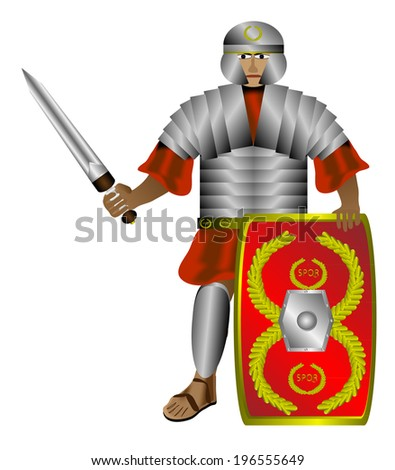 Legionnaire (roman soldier) with shield and sword isolated on white background.