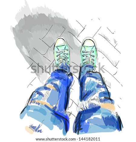 Legs in gumshoes. Vector illustration. - stock vector