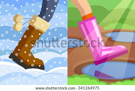 Legs of walking person, one foot dressed in winter boot on snowy winter background, another foot dressed in rubber boot on spring background. Step from winter to spring. Change of seasons concept - stock vector