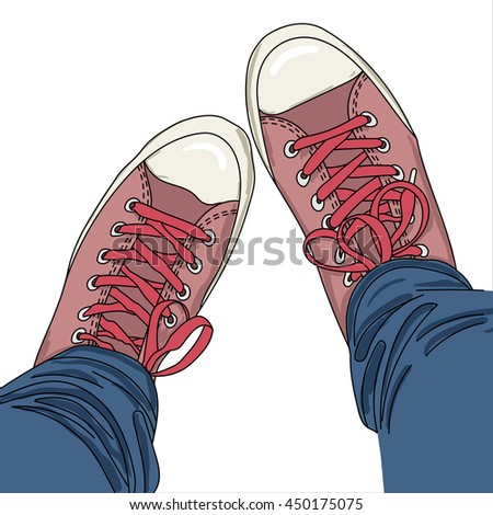 Legs with jeans in gumshoes. Vector illustration. EPS