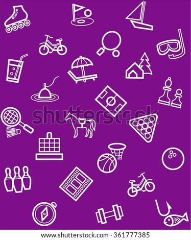 Leisure and entertainment, background, seamless, purple. Vector, seamless, purple background from linear icon on the topic of entertainment and recreation.