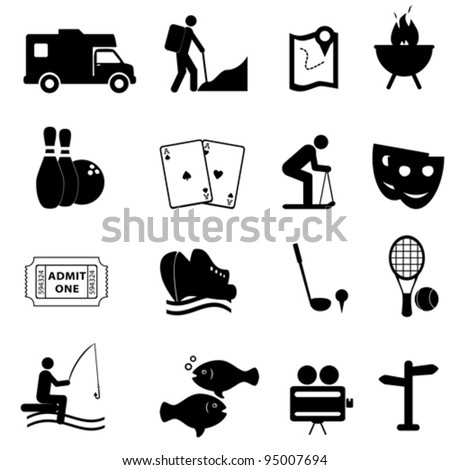 Leisure and fun activities icon set - stock vector