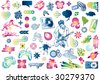 Leisure design doodles: Value pack of many design elements. You can use them to create business cards, posters, flyers, brochures, ... - stock vector