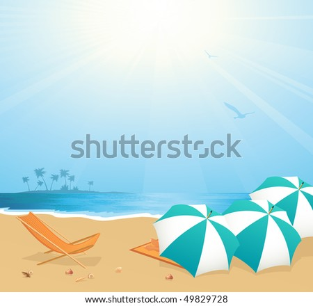 Leisure on the beach,  vector illustration - stock vector
