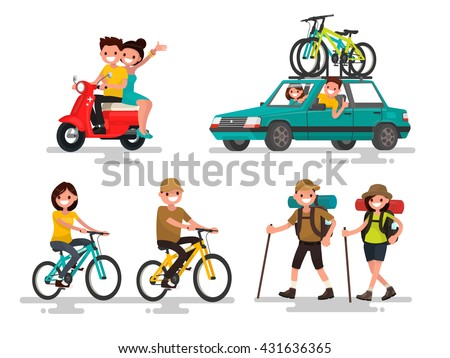 Leisure. Young couple riding a bike, traveling, hiking involved. Vector illustration of a flat design - stock vector