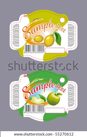 Lemon and apple labels - stock vector