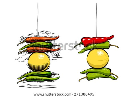 Lemon and chili tied together - An Indian symbol used in household as prevention from evil eye. Vector - stock vector