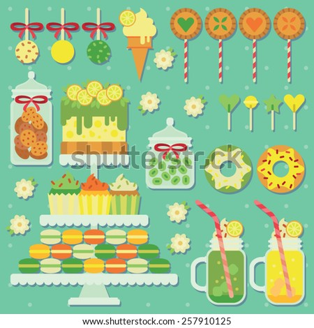 lemon and mint candy bar with different sweets - stock vector