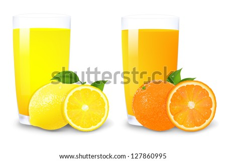 Lemon And Orange Juice And Slices Of Orange With Gradient Mesh, Isolated On White Background, Vector Illustration - stock vector